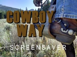 Channel Poster for Cowboy Up Screensaver; closeup of boot in stirrup while riding horse through field