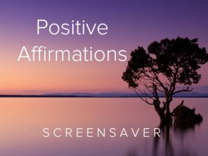 Channel Poster for Positive Affirmations Screensaver; calm lake with tree in water at purple sunset