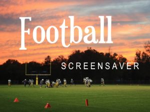Channel Poster for Football Screensaver; football game in progress at sunset with oranges and blues in sky