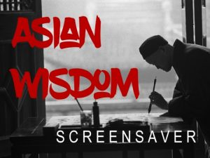 Channel Poster for Asian Wisdom Screensaver; black and white photo of Asian man painting with logo in foreground