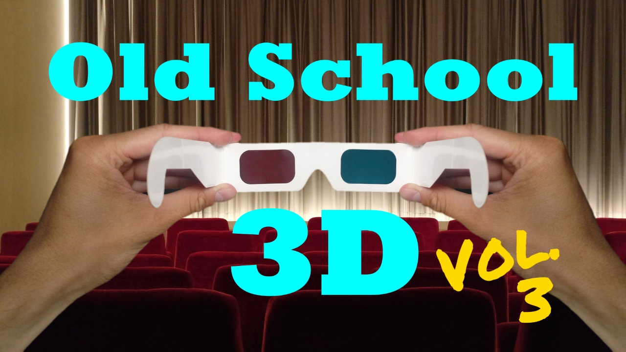 HD Splash Logo for Old School 3D Vol. 3; hands holding up paper 3D glasses in theater
