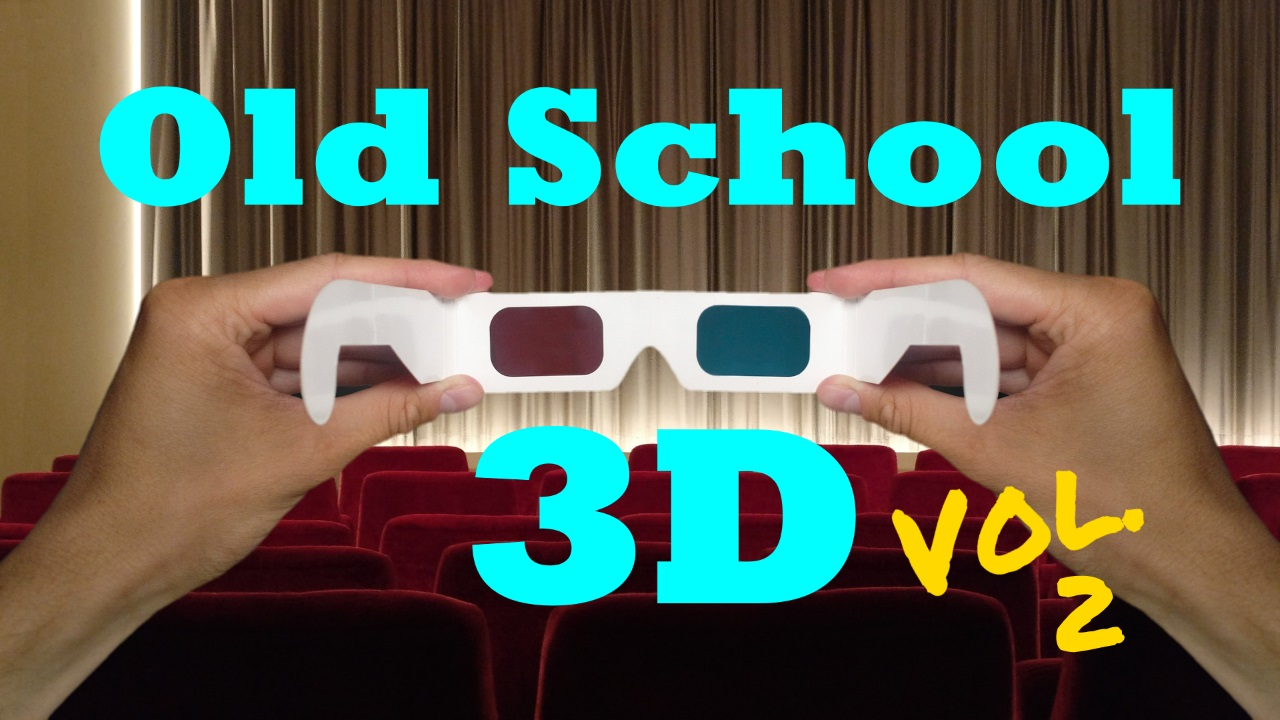 HD Splash Logo for Old School 3D Vol. 2; hands holding up paper 3D glasses in theater